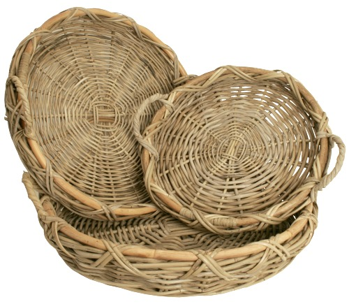 Round Basket Tray Set