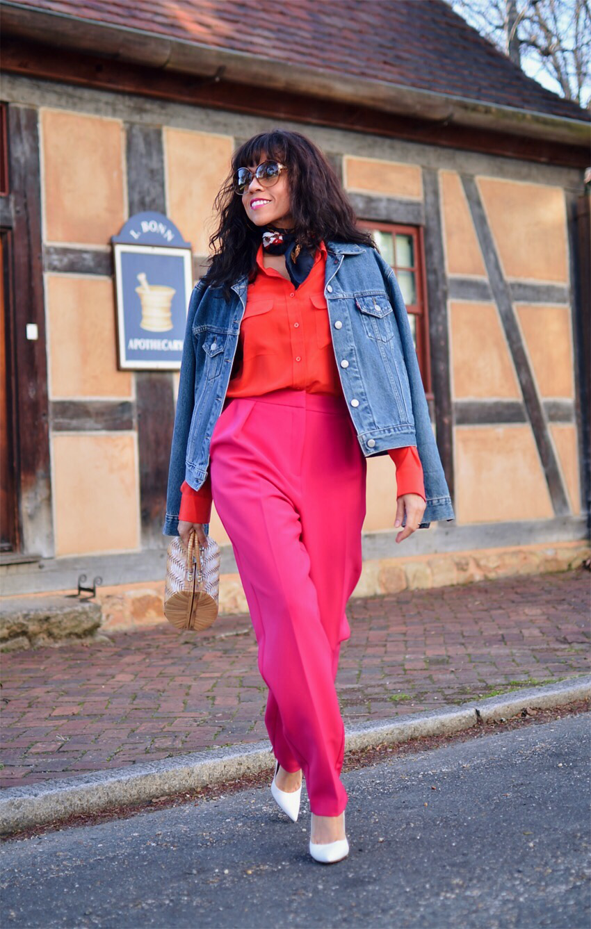 Red with pink street style