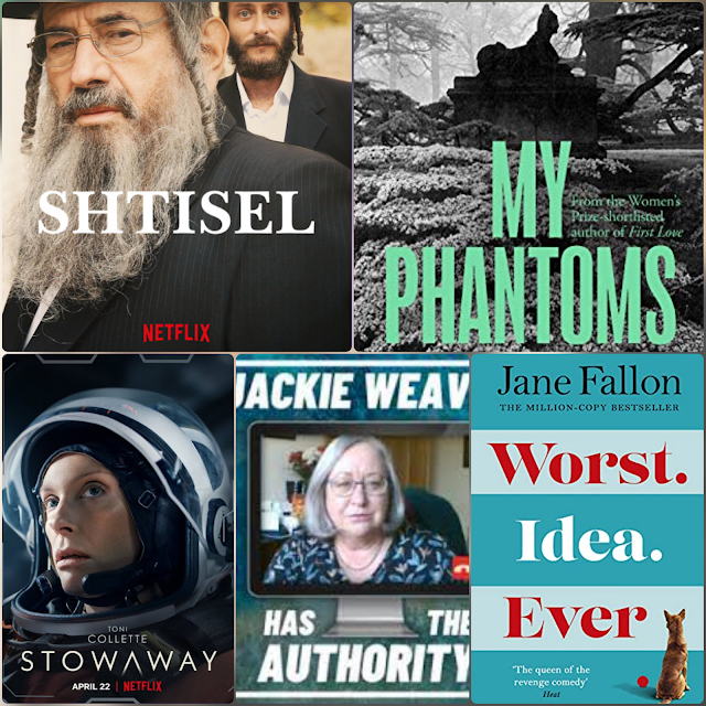 Selection of the TV shows, books and podcasts reviewed by UK blog Is This Mutton in May 2021 including Shtisel, Motherland, Starstruck, Stowaway, Jackie Weaver Ha the Authority and My Phantoms