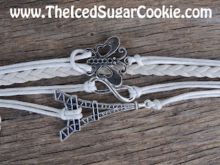 White Butterfly Paris Infinity Sign Leather Bracelet by The Iced Sugar Cookie