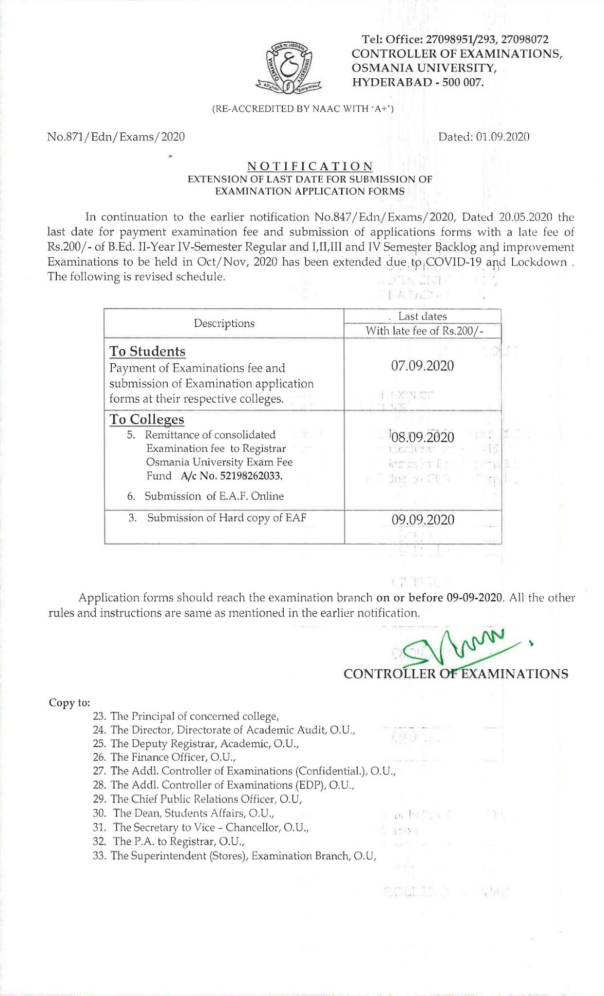 Osmania University B.Ed 1st to 4th Sem Sep 2020 Exam Fee Notification