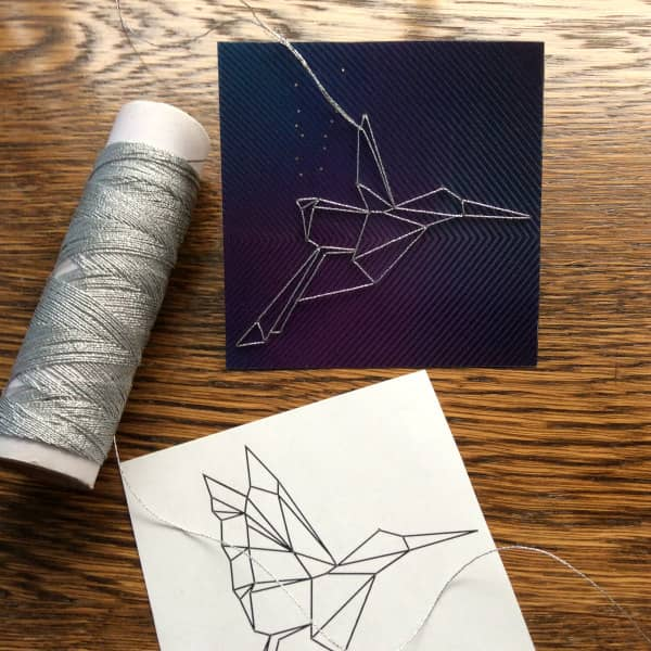 hummingbird pattern, metallic thread, and stitched hummingbird in progress
