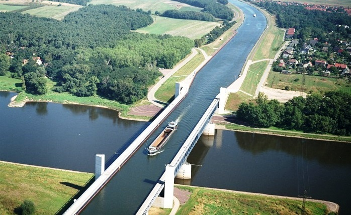 Magdeburg Water Bridge - A Large Navigable Aqueduct In Germany