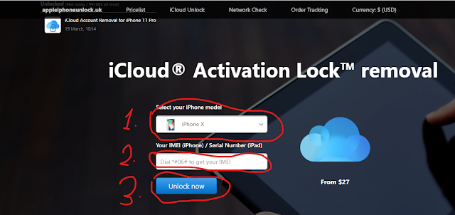Official iCloud Unlock: Activation Lock Removal site.