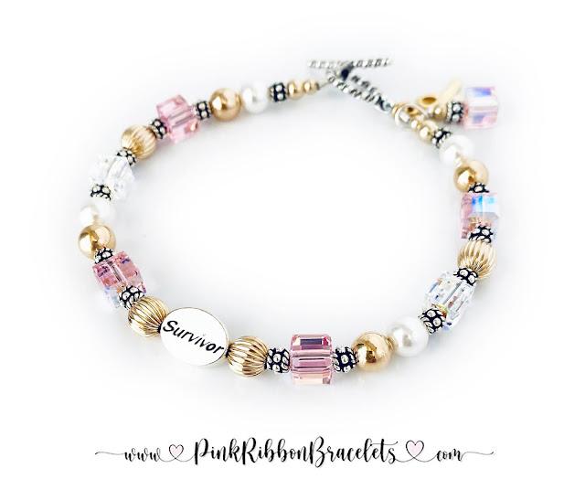 Pink Ribbon Bracelets Survivor - Hope - Courage - In Memory