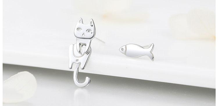 不對稱風酷貓&魚 925純銀耳環