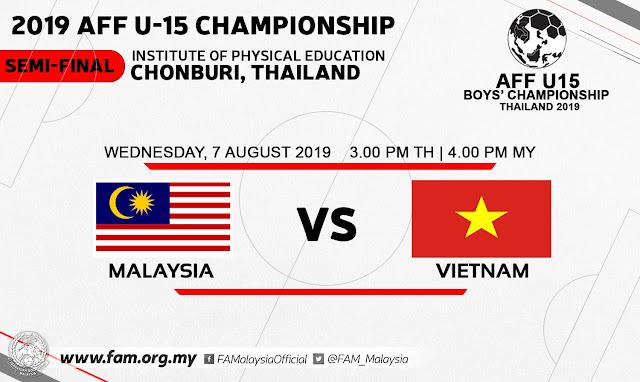 Live Streaming Malaysia vs Vietnam AFF U15 (7.8.2019)