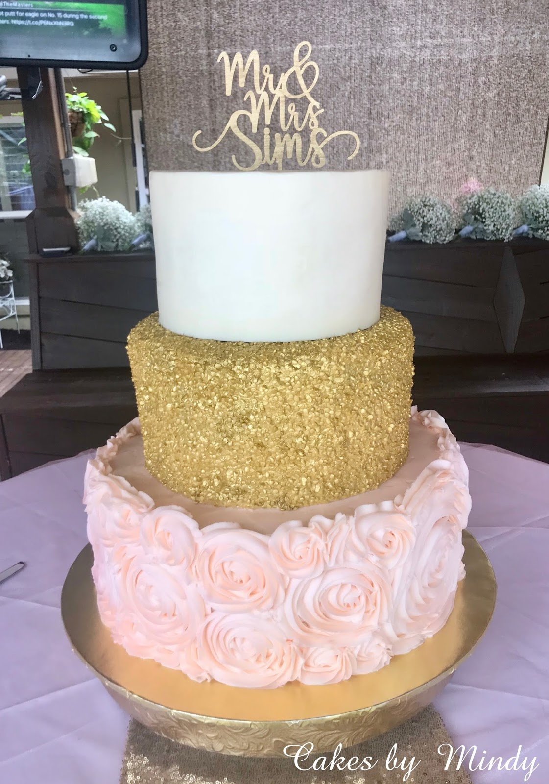 Gold And Blush Wedding Cake 8 10 14