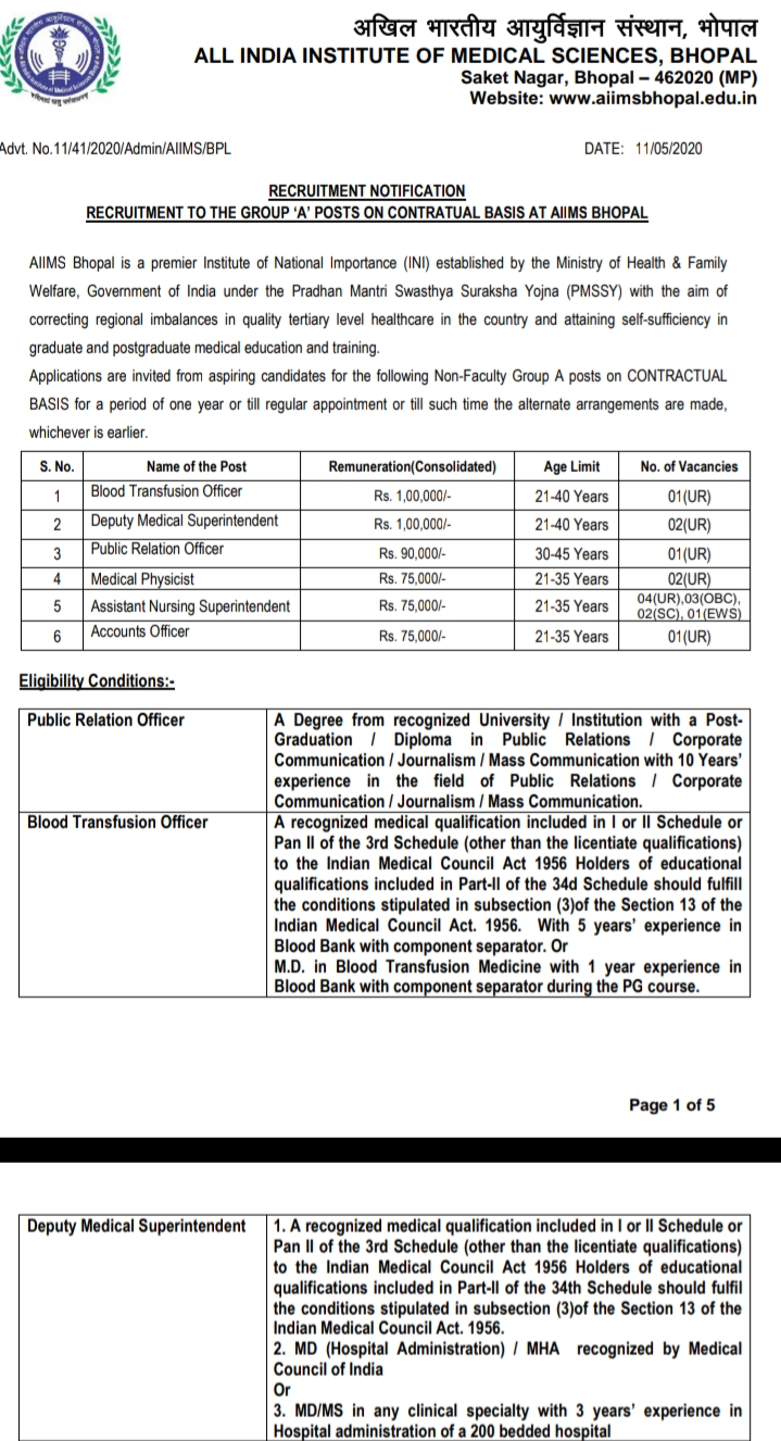 RECRUITMENT NOTIFICATION  RECRUITMENT TO THE GROUP 'A' POSTS ON CONTRATUAL BASIS AT AIIMS BHOPAL,aiims bhopal staff nurse vacancy 2020  aiims bhopal opd  aiims bhopal result  aiims bhopal recruitment 2019 pharmacist  aiims bhopal fees  aiims bibinagar recruitment 2020  aiims bhopal staff nurse vacancy 2018  aiims bhopal vacancy lab technician  aiims hospital indore  aiims raipur recruitment  aiims jodhpur recruitment  aiims rishikesh recruitment