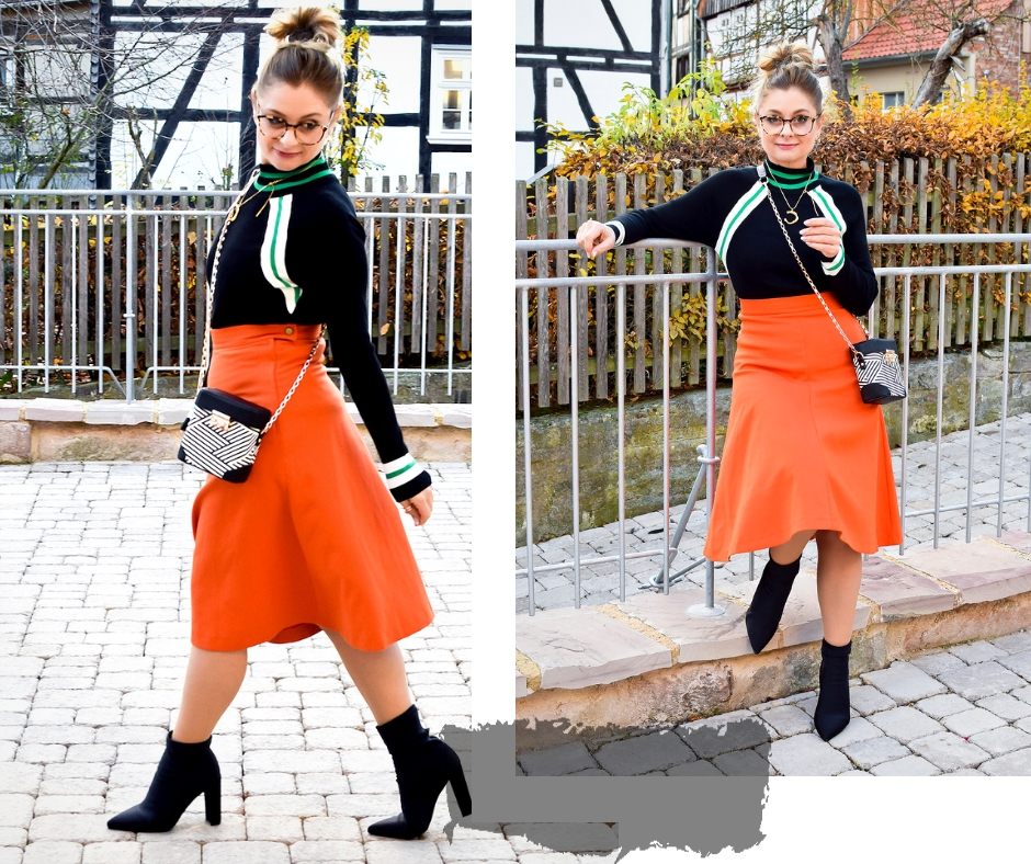 Trendfarbe Orange, Rock in A-Linie in Orange, schwarze Sockboots