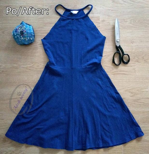 Sukienka na lato z przeróbki sukienki z rękawami DIY bez szycia - Adzik tworzy