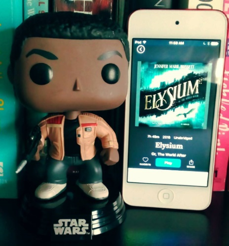A large-headed Funko Pop of Finn from Star Wars stands beside a white iPod with Elysium's blue-tinged cover on its screen. The title appears in gold against a black banner that curves between two city skylines.