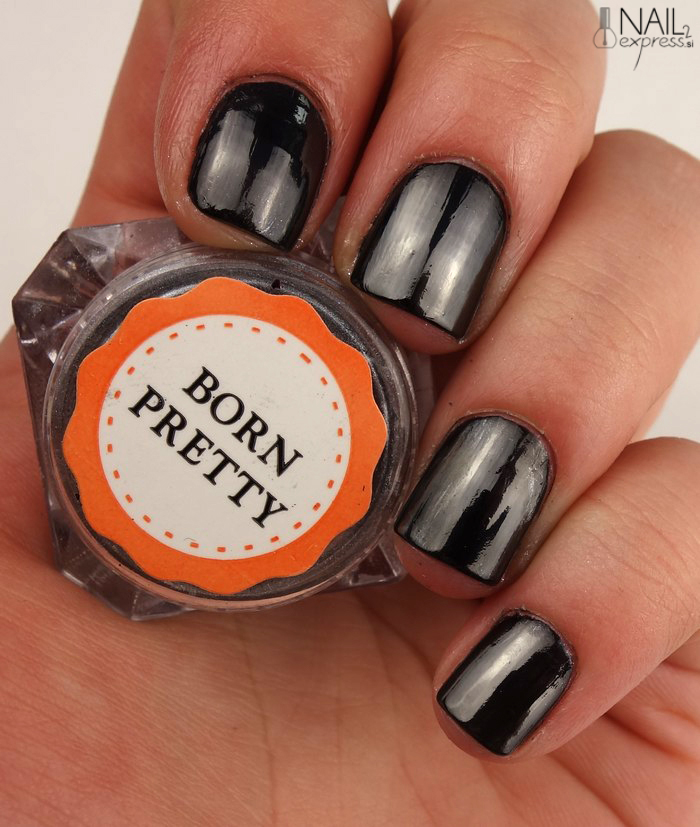 Born pretty store_black mirror nail powder_swatch