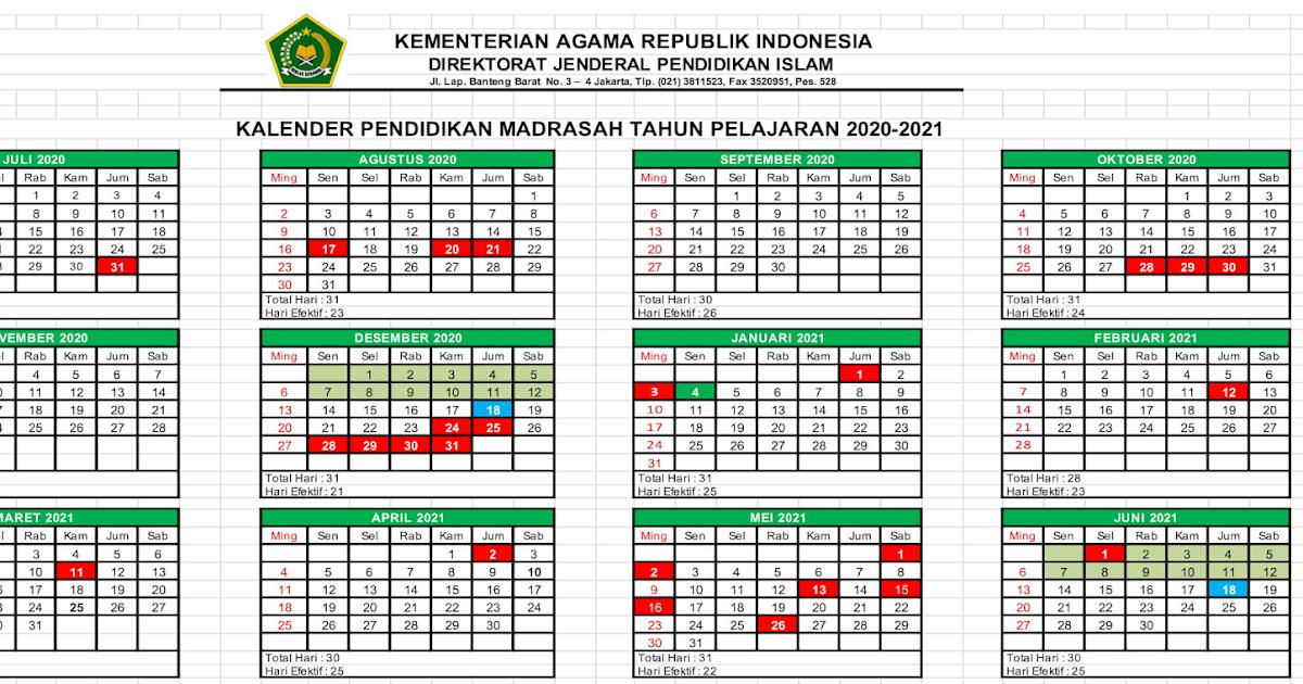 Kalender Pendidikan Madrasah Tahun Pelajaran 2020/2021 ...