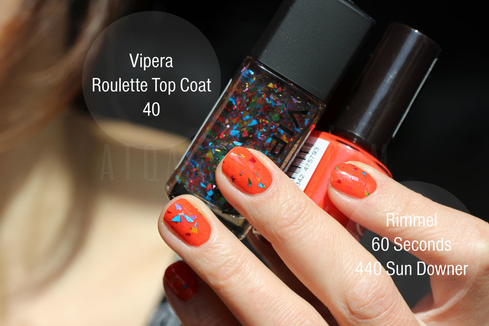 Rimmel, 60 Seconds, 440 Sun Downer + Vipera, Roulette Top Coat, 40