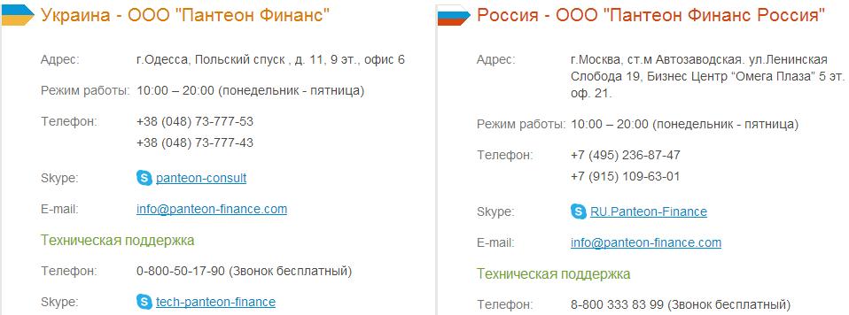 Адреса в Украине и России