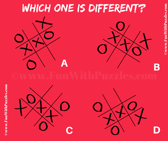 It is Odd One Out Picture Puzzle in which your challenge is find the tic tac toe game image which is different