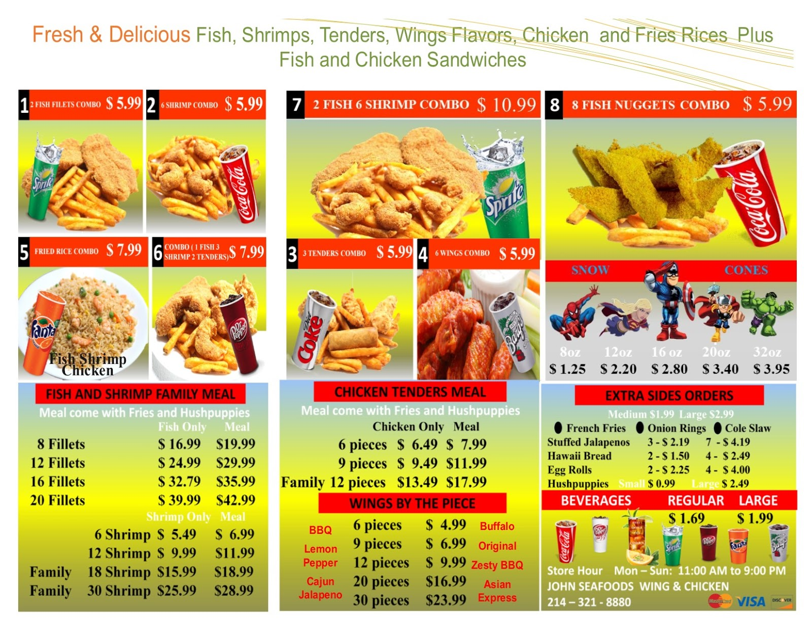 Take out Menu Welcome to John Seafood Wing and Chicken | John ...