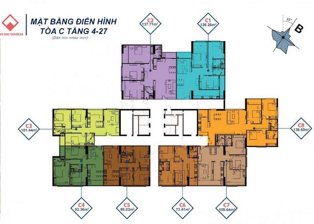 Mặt bằng thiết kế tháp C Việt Đức Complex