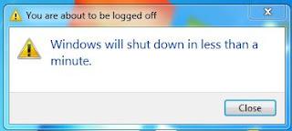 Windows Shutdown message