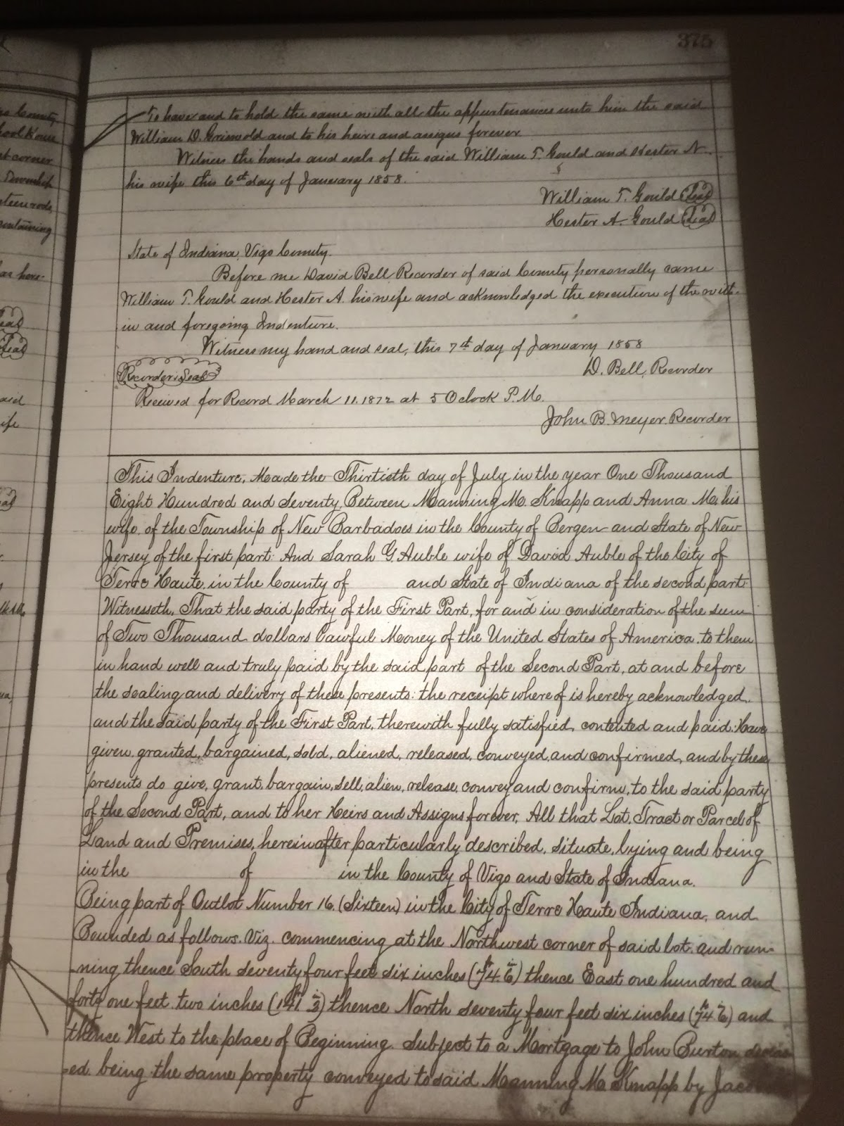 Genea musings amanuensis monday post 337 1870 deed of the subject today is the deed of conveyance from manning m and anna m knapp to sarah g auble for land in terre haute vigo county indiana aiddatafo Gallery