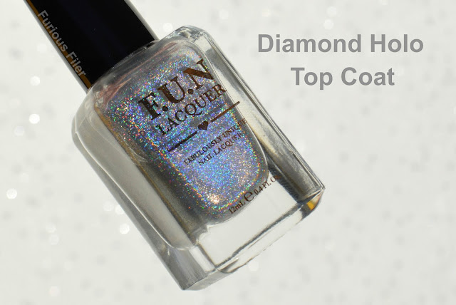 fun lacquer diamond holo top coat review swatch