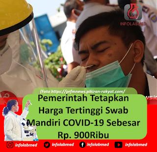 Pemerintah Tetapkan Harga Tertinggi Swab Mandiri COVID-19 Rp. 900Ribu