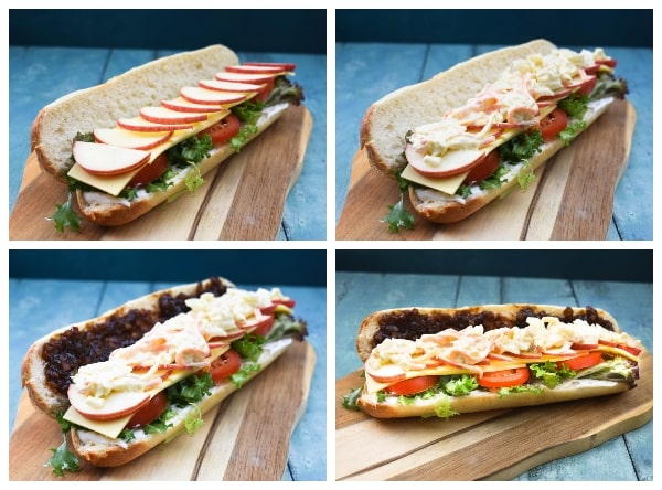 Vegan Cheese Ploughman's Sandwich - Step 2 - slices of apple, coleslaw and pickle
