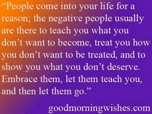 People Come Into Your Life For A Reason The Negative People Usually