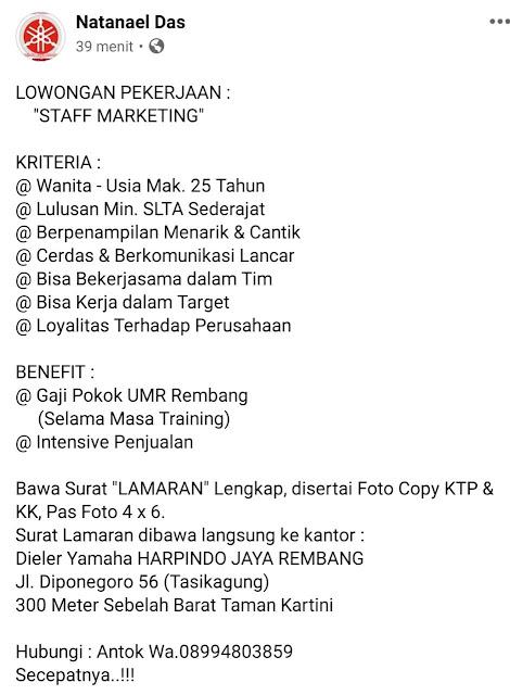 Lowongan Kerja Staff Marketing Yamaha Harpindo Jaya Rembang