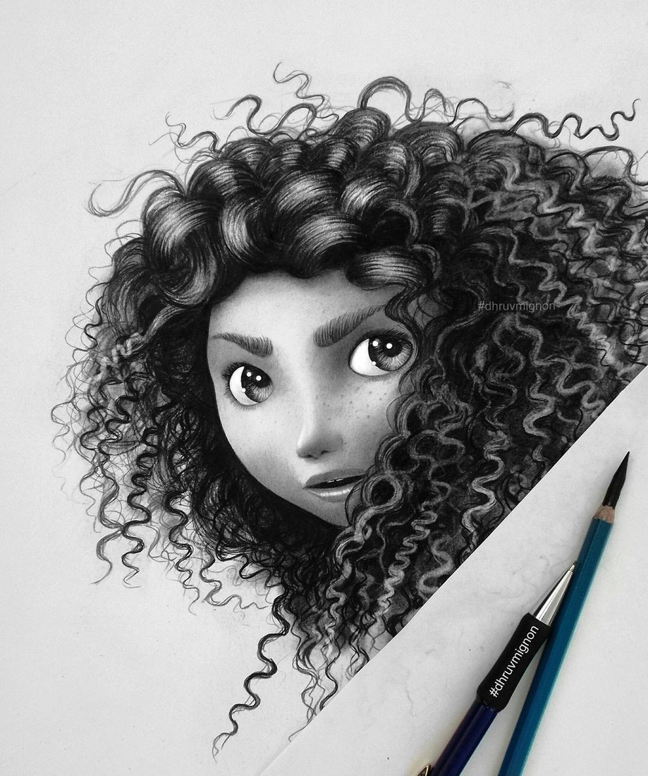 13-Merida-Brave-dhruvmignon-Celebrity-Miniature-Black-and-White-Pencil-Portraits-www-designstack-co