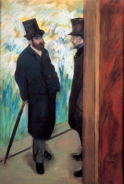 Эдгар Дега - Друзья в театре, Людовик Галеви и Альберт Хелви (1879)