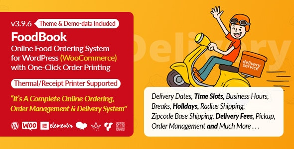 FoodBook v3.9.0 - Online Food Ordering System for WordPress with One-Click Order Printing