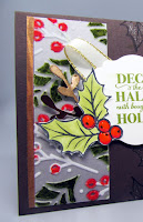 Holiday Card featuring Stampin'Up!'s Christmas Gleaming stamp set and Plush Poinsettia Specialty Paper showing that you can color on the plush velvet part of the paper