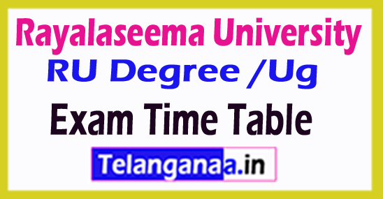 Rayalaseema University RU Degree /Ug Exam Time Table