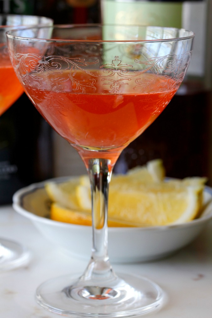 The Jasmine Martini is a beautiful deep pink color, but don't mistake it for a girlie cocktail.