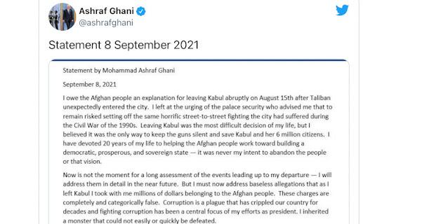 Ashraf Ghani: Saya Menyesal Berakhir Tragis Tanpa Meninggalkan Jejak Stabilitas di Afghanistan