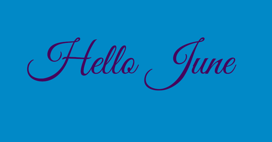 blue background with purple text, hello June