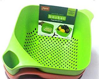 Apex Big Vegetable Fruit Basket Rice Wash Sieve Washing Bowl -Online Trade DD