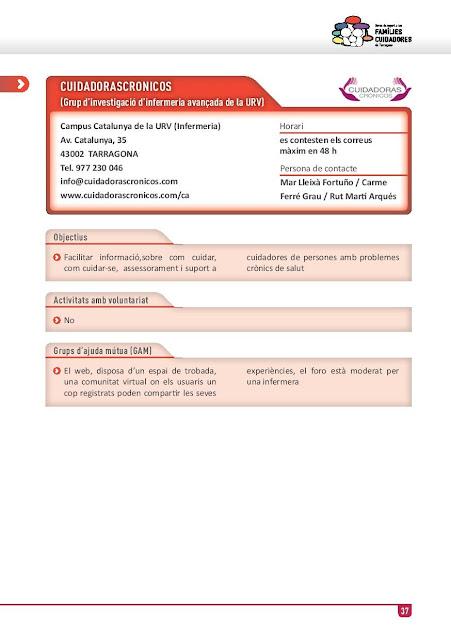 Xarxa de Suport a les Famílies Cuidadores de Tarragona:  CUIDADORASCRONICOS (Grup d'investigació d'infermeria avançada de la URV)