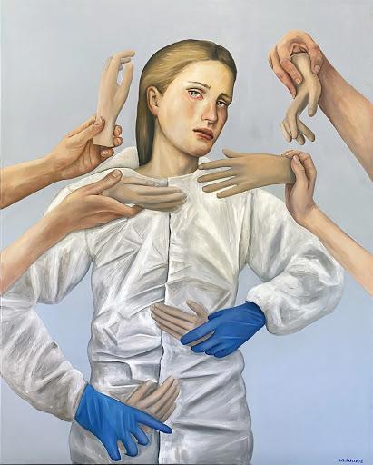 """Laura Corre, """"Paura di toccare"""" acrilico e olio su tela, cm 80x100; 2020"""