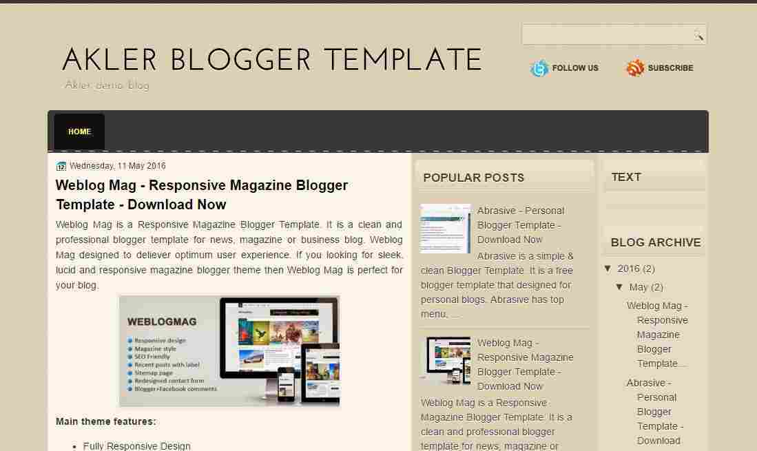 Akler - Simple blogger template - blog