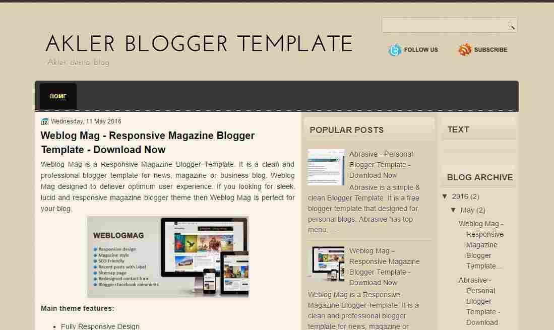 Akler - Simple blogger template - blog