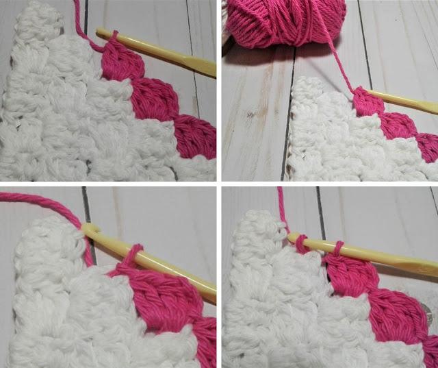 corner to corner dc2tog crochet