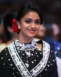 Keerthy Suresh in Black Saree at SIIMA Awards 2019