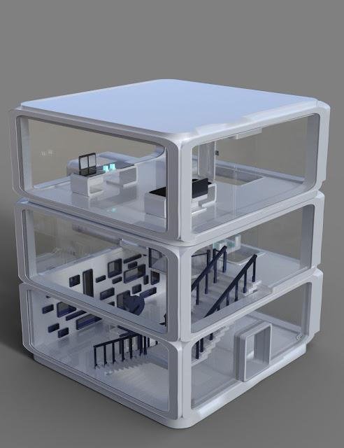 Futuristic Glass Elevator and Building Kit