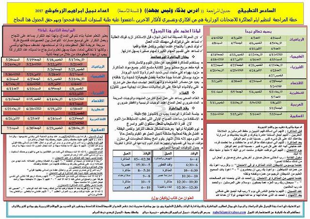 جدول المراجعة للأمتحانات الوزارية الممتاز من اعداد نبيل أبراهيم الزركوشي
