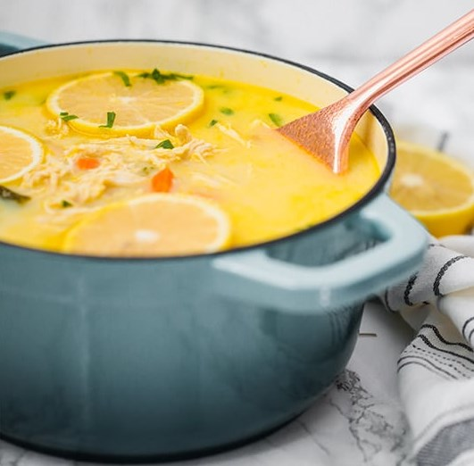 Greek Lemon Chicken Soup (Paleo, Low Carb, Keto, Whole30, AIP) #healthy #diet