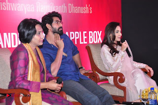 Aiswarya Rajinikanth Dhanush Standing on an Apple Box Launch Stills in Hyderabad  0054.jpg