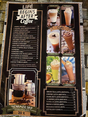 Menu kopi di Sky Garden Cafe and Resto by Susan Spa and Resort